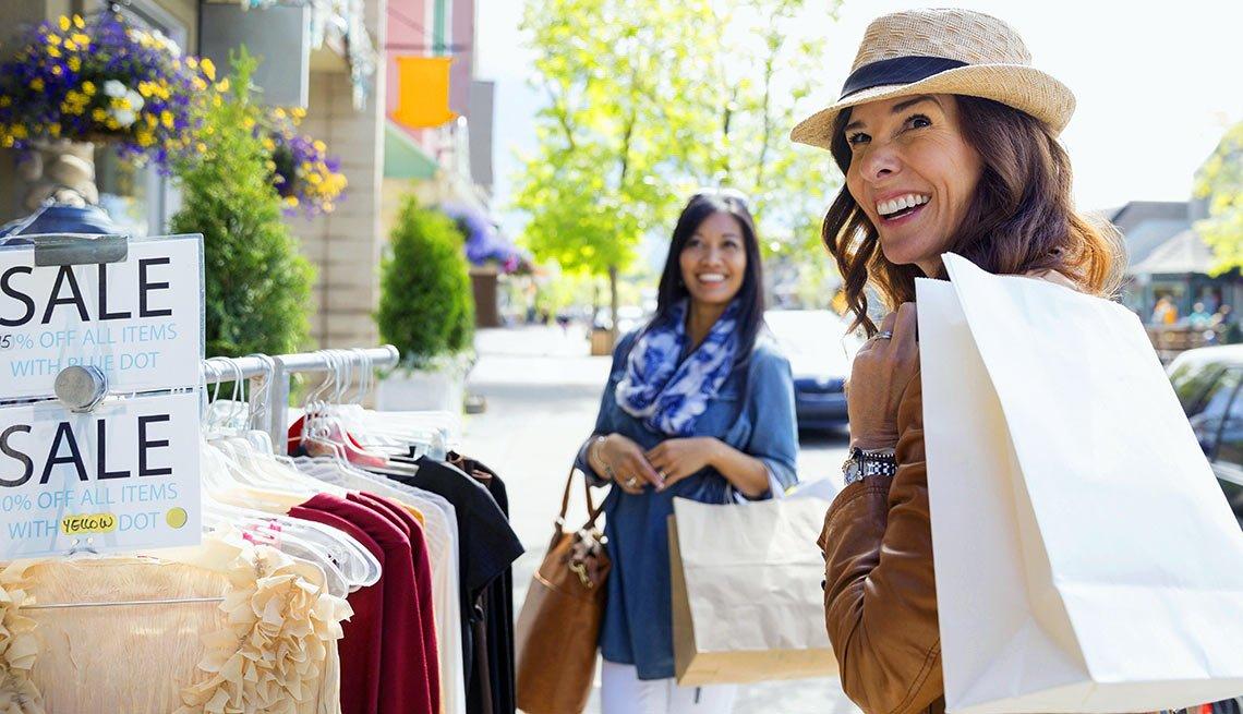 Women-shopping-on-village-street