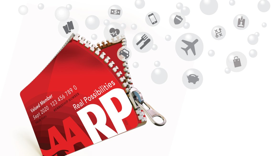 AARP membership card with icons of discounts and benefits