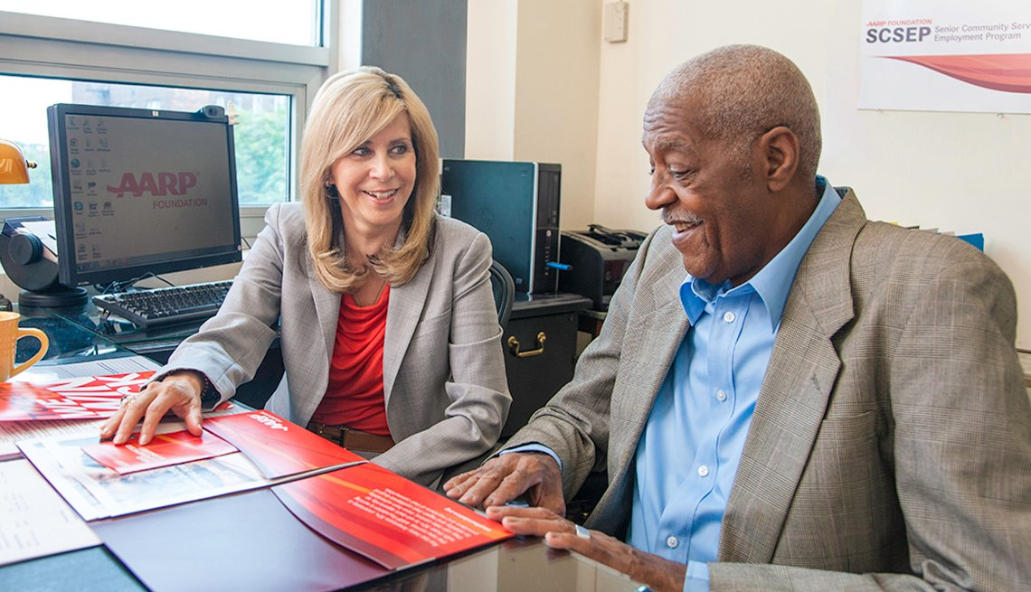 Mature African-American man, AARP representative, AARP Foundation, Senior Community Service Employment Program