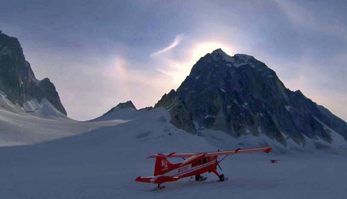 Airplane, Pika Glacier, Alaska, Dusk