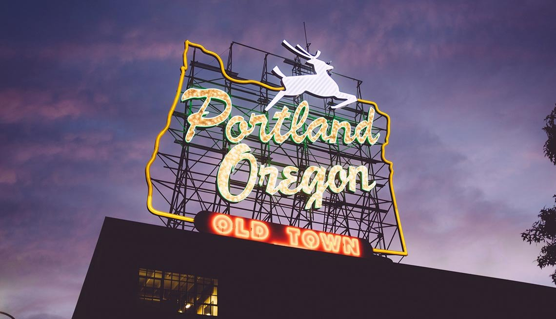 Portland, Oregon, Lighted Signs, AARP Foundation Experience Corps Cities