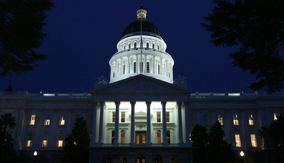 California State Capitol, Night, Spotlights, AARP Foundation Experience Corps Cities