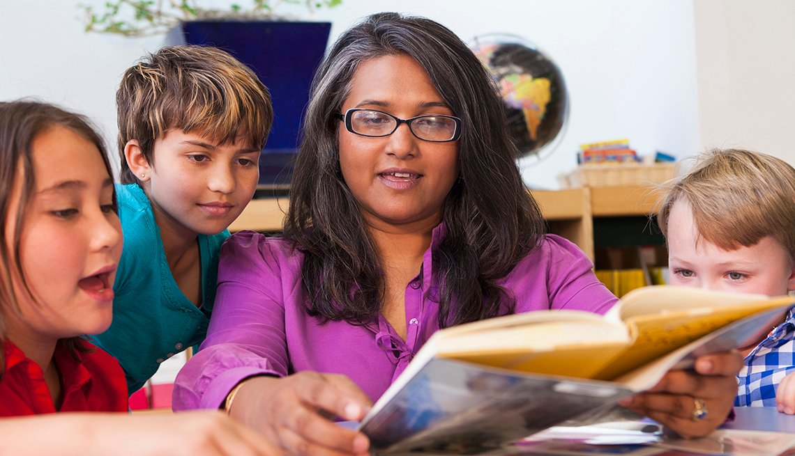Teacher Reading to Students, Children Listening, AARP Foundation Experience Corps Cities