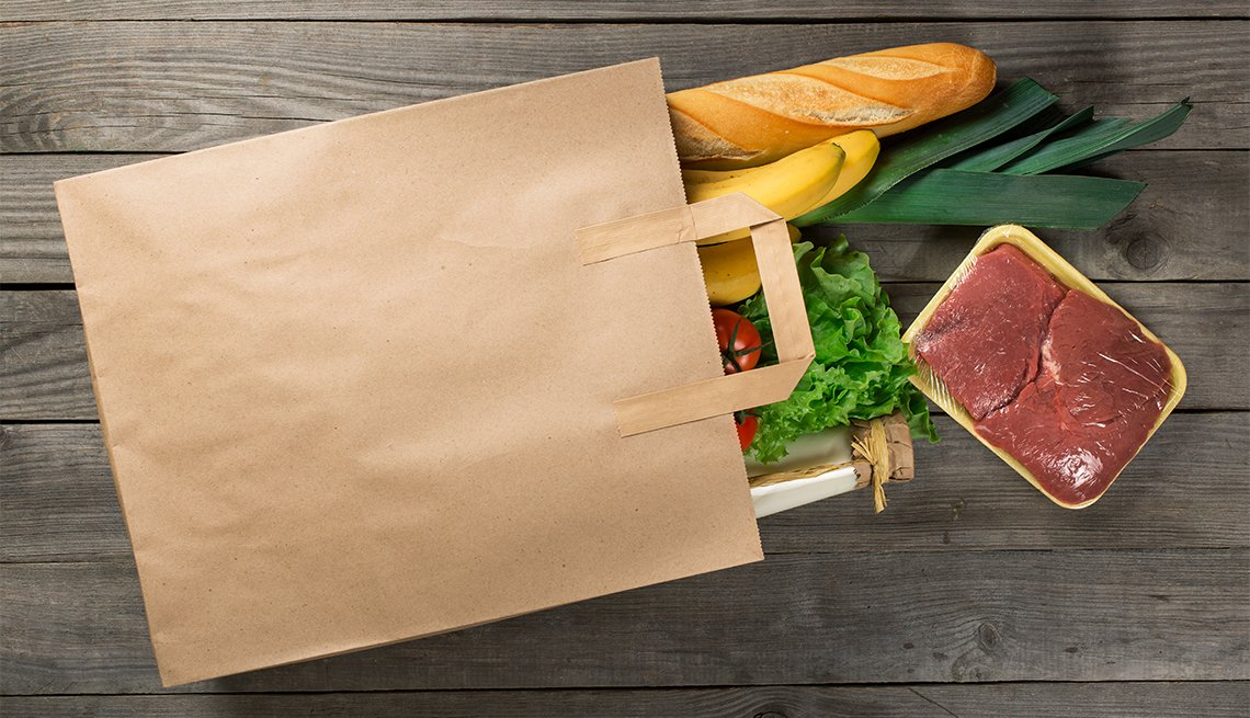 Paper bag of groceries, meat, a loaf of bread, lettuce, Hunger, AARP Foundation Litigation, Legal Advocacy