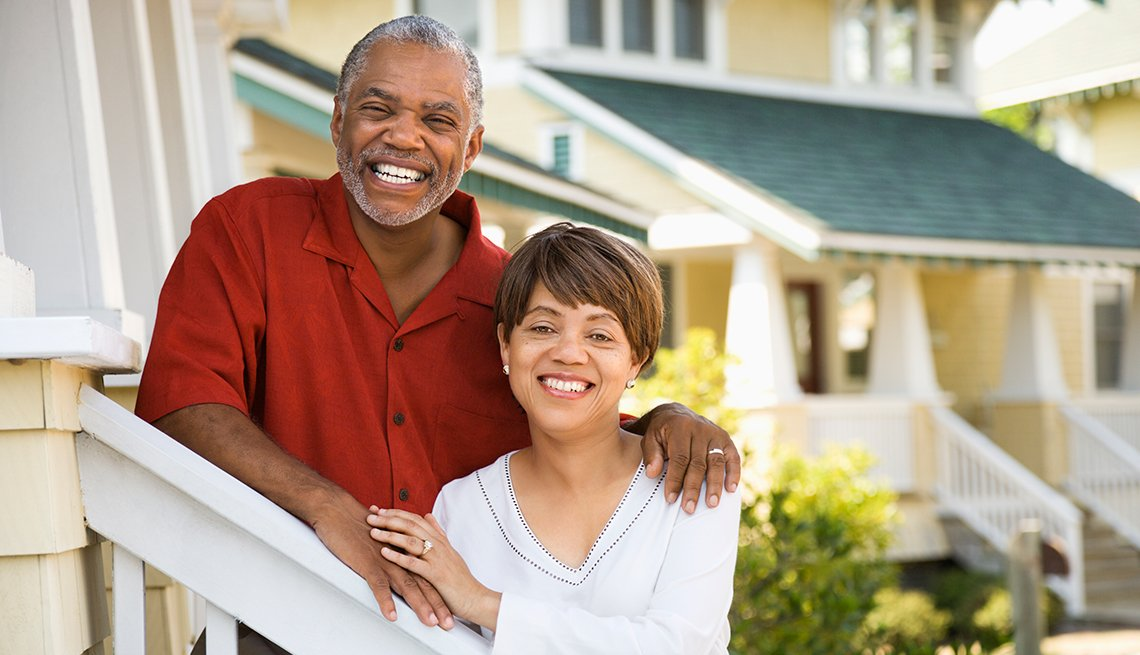 African American couple, together, outside home, Housing Solutions Center, AARP Foundation