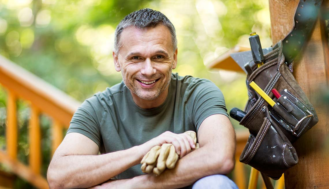 Mature man, carpenter, tools, Work for Yourself 50+, AARP Foundation