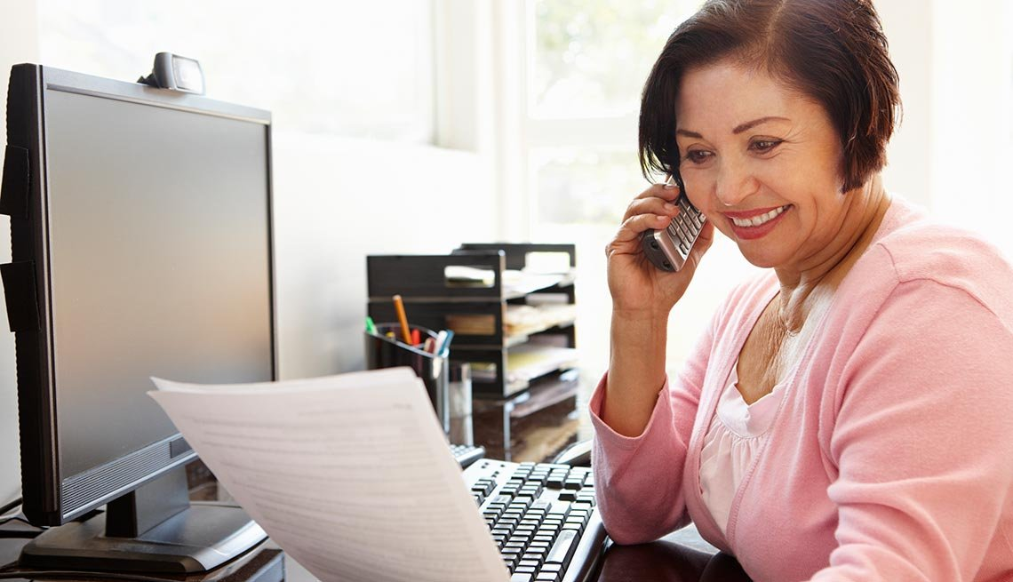 Mature woman, talking on phone, home office, Work for Yourself 50+, AARP Foundation