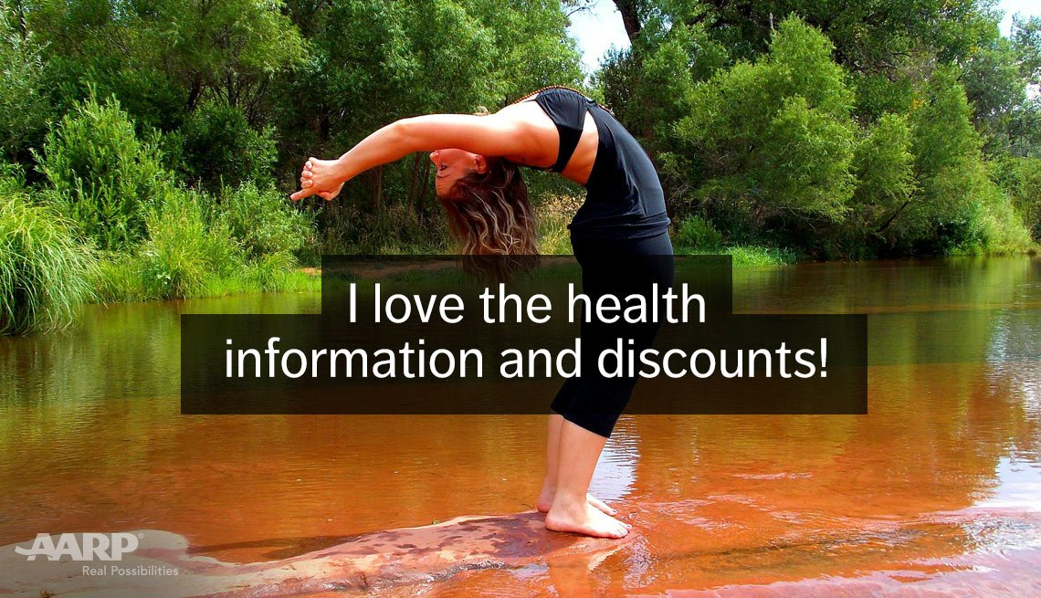 A woman performs a yoga move outdoors with text that reads I love the health information and discounts.