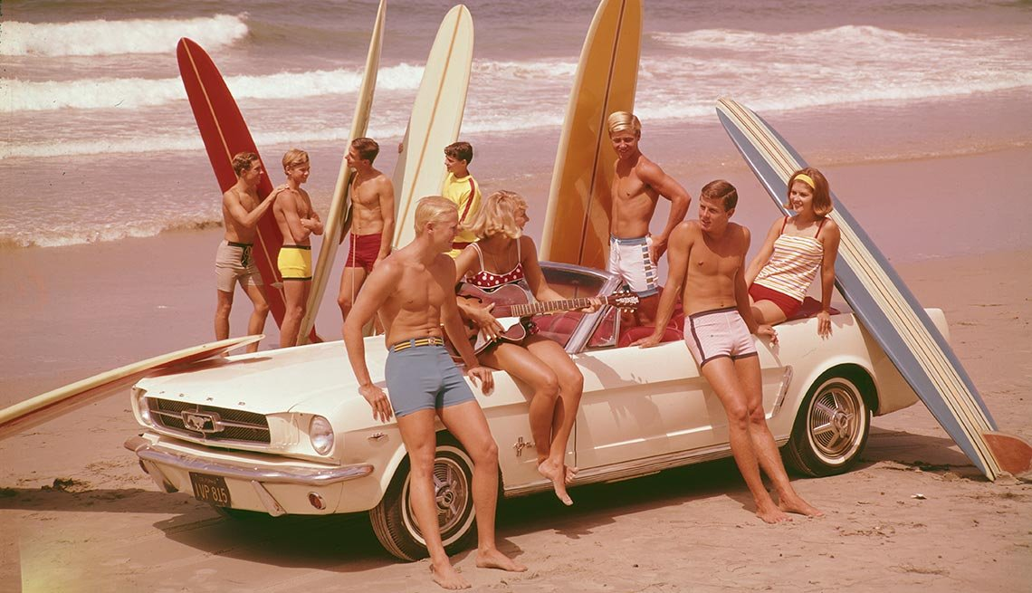 Surfers with Ford Mustang Convertible, Classic Cars Then and Now