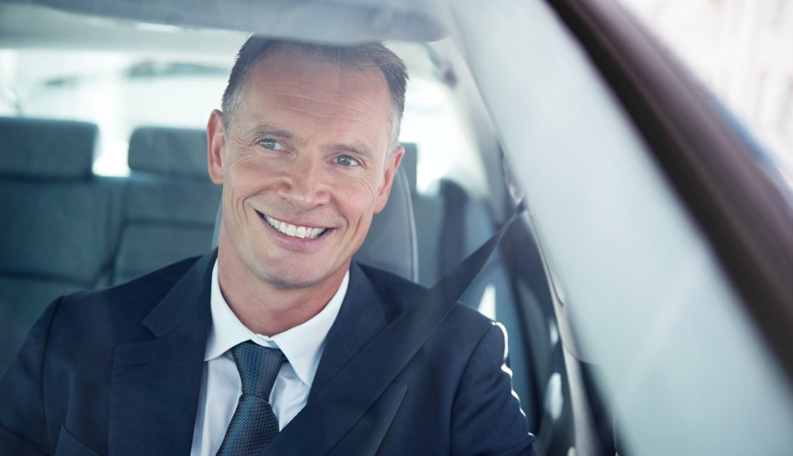 man, in, car, windshield, positive, businessman, smiling