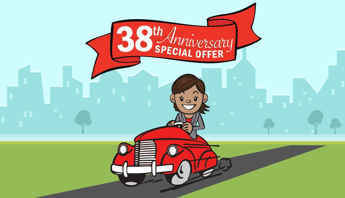 Illustration Of Woman In car With Banner Above Her Reading 38th Anniversary Special Offer, AARP Auto