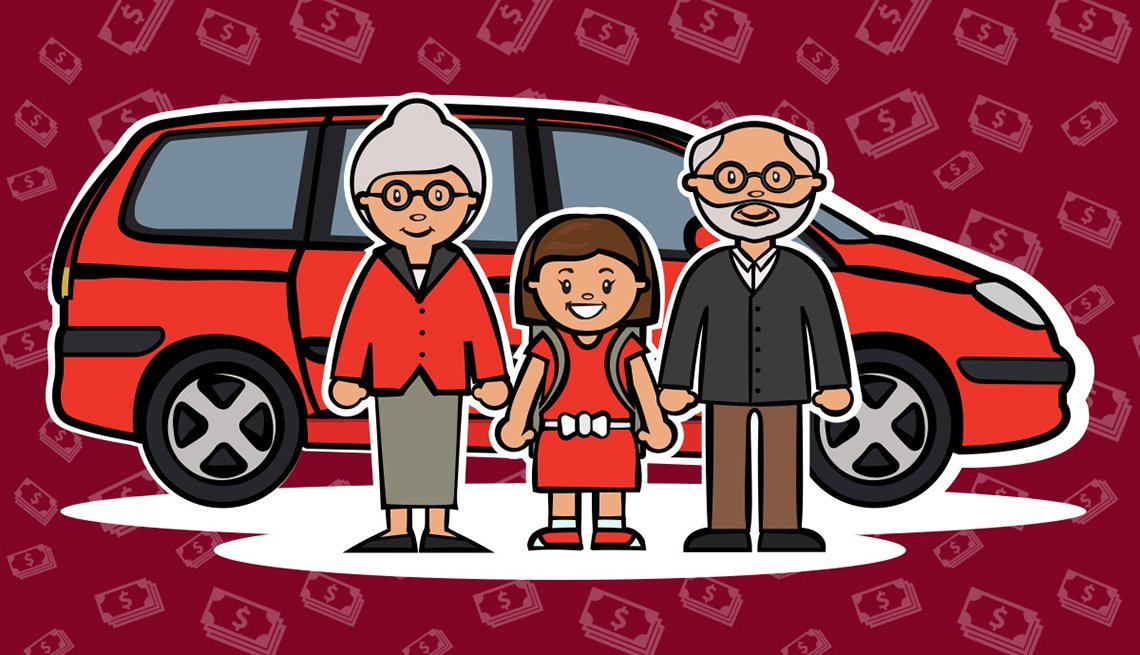 Illustration of Grandparents with Granddaughter and Minivan, AARP Auto Driver Safety