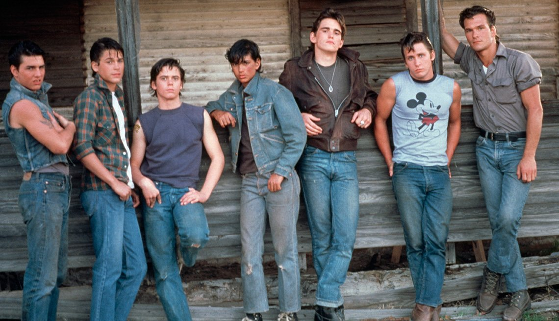 Tom Cruise, Rob Lowe, C. Thomas Howell, Ralph Macchio, Matt Dillon, Emilio Estevez and Patrick Swayze in 'The Outsiders'