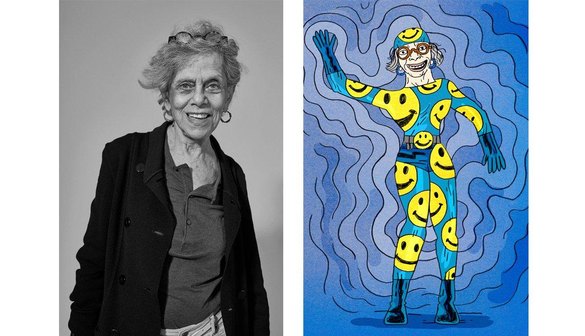 Natalie Cohen Portrait and Illustration, Super Heroes, AARP Disrupt Aging,