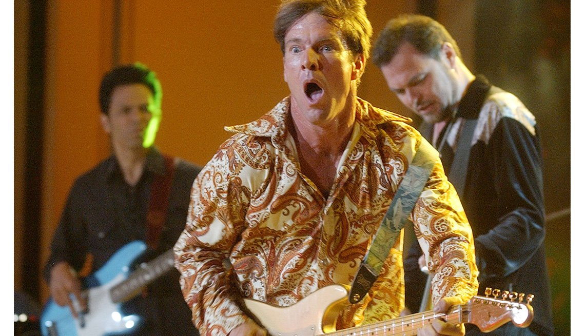 Actor Dennis Quaid Performs On Stage, Concert, Singer, Guitar, Actor Rock Stars