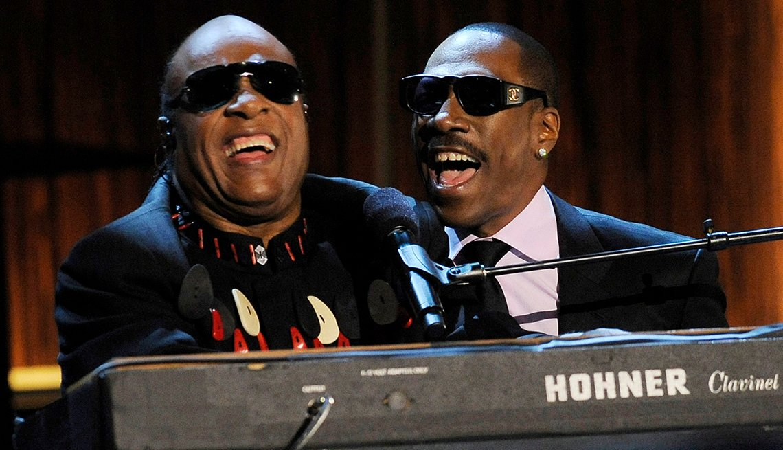 Eddie Murphy, On Stage, Stevie Wonder, Actor, Singer, Musician, Piano, Performance, On Stage, Actor Rock Stars