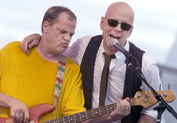 Actor Bruce Willis performs with his band, Boys Just Wanna Have Bands