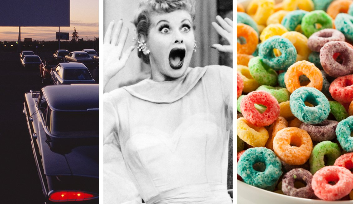 Drive-in movie, Lucille Ball, Fruit Loops in cereal bowl, You Know You're a Boomer if