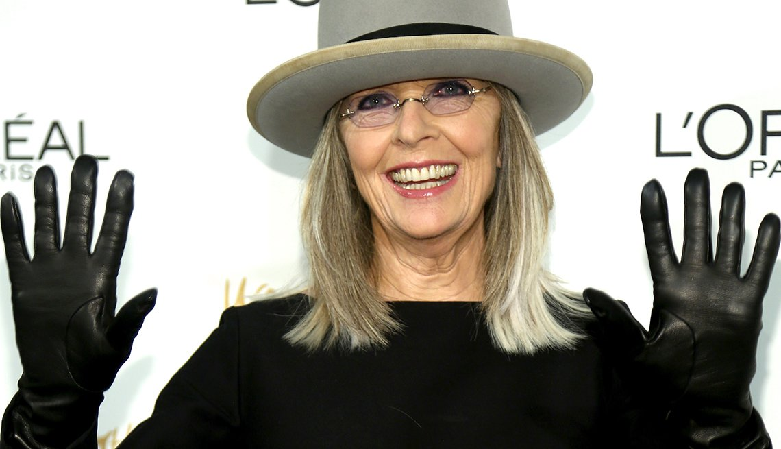 Actress Diane Keaton, Celebrity Grey Hairstyles