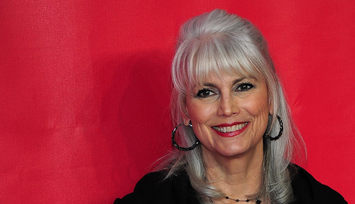 Smiling Woman, Grey Hair, Red Background, Emmylou Harris, Singer, Going Grey Tips