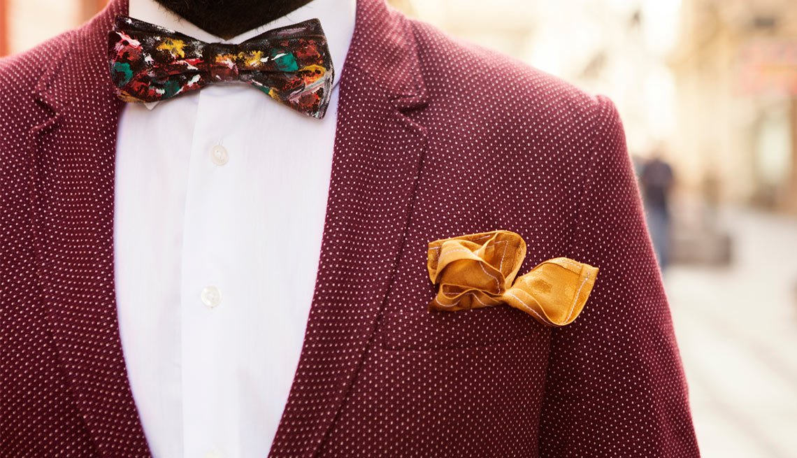 Red Tweed Jacket, Bowtie, Yellow Pocket Sqaure, Mens Fashion, Eight Styles For Color Shy Guys