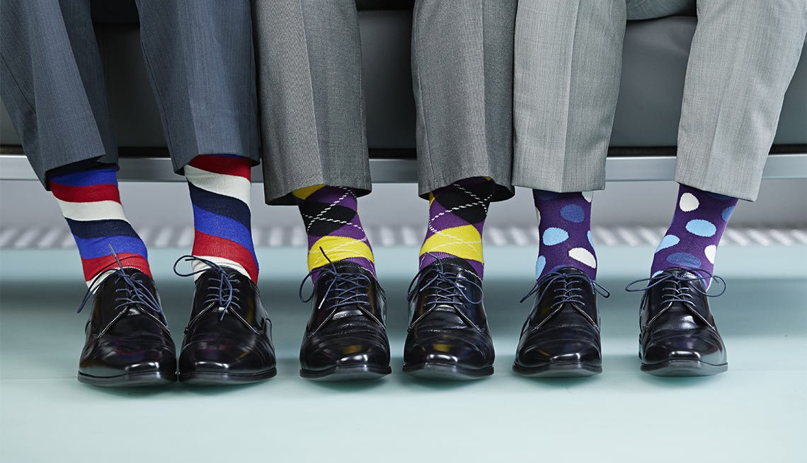 Row Of Men's Colorful Socks, Black Shoes, Fashion, Eight Styles for Color Shy Guys