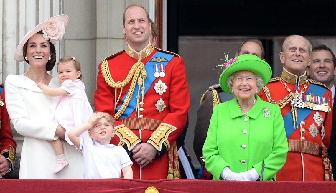 Catherine, Duchess of Cambridge, Princess Charlotte of Cambridge, Prince George of Cambridge, Prince William, Duke of Cambridge, Queen Elizabeth II and Prince Philip, The Duke of Edinburgh