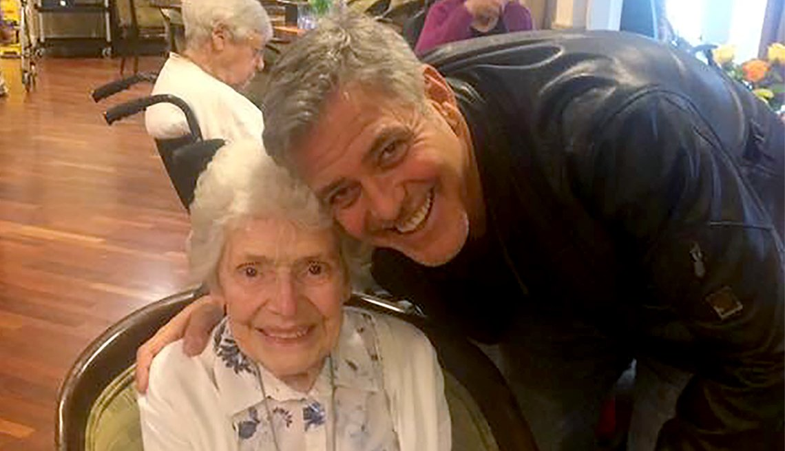Pat Adams with her idol George Clooney