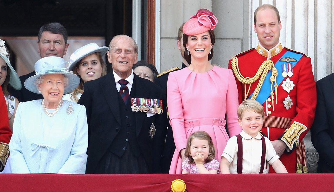Queen Elizabeth II, Prince Philip, Princess Kate, Prince William and Princess Charlotte and Prince George at the Trooping of the Color parade