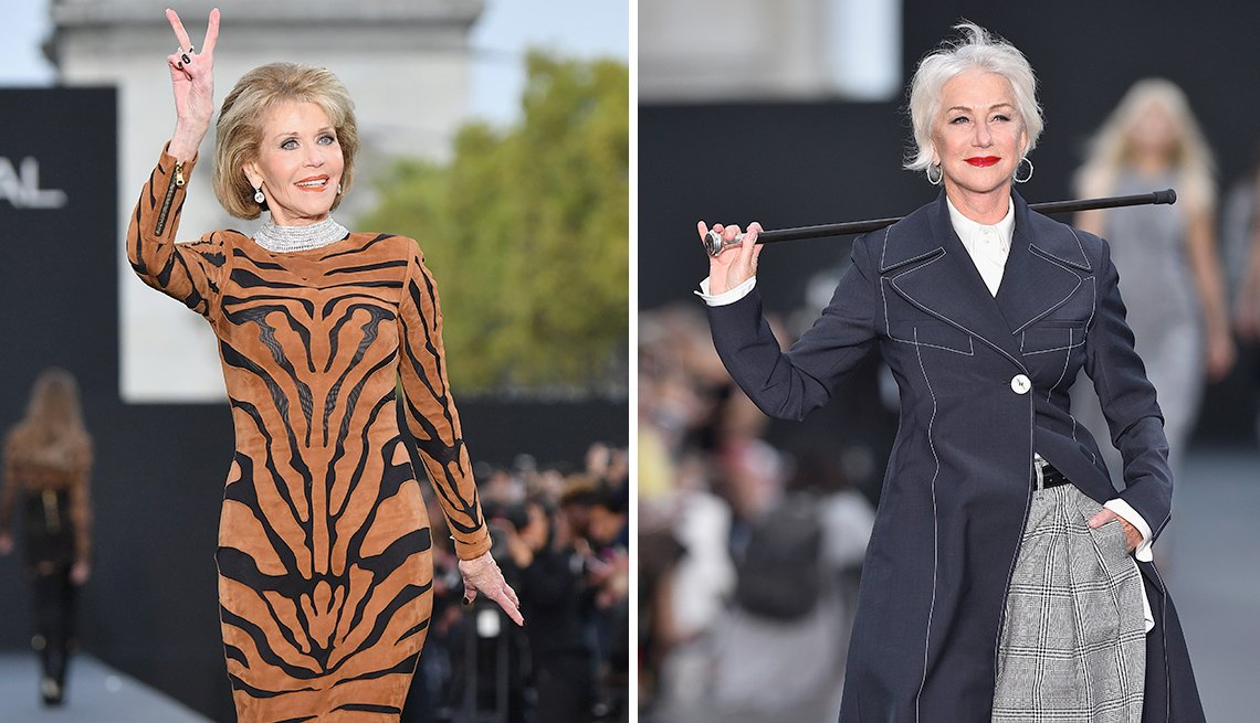 Jane Fonda and Helen Mirren walk the runway in Paris