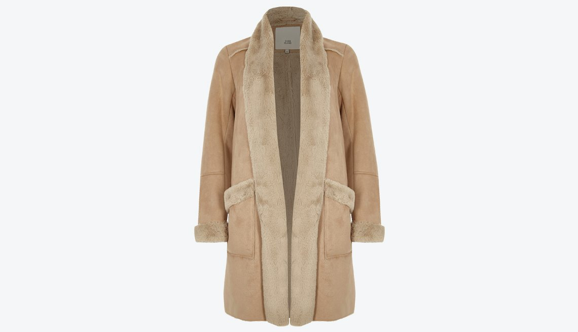 River Island Camel Faux Shearling Open Front Coat