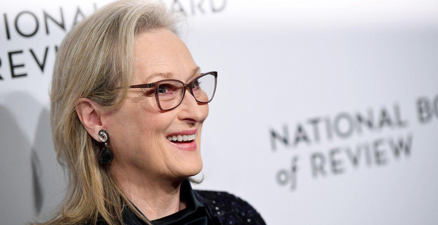 Actress Meryl Streep wearing grayframe eyeglasses