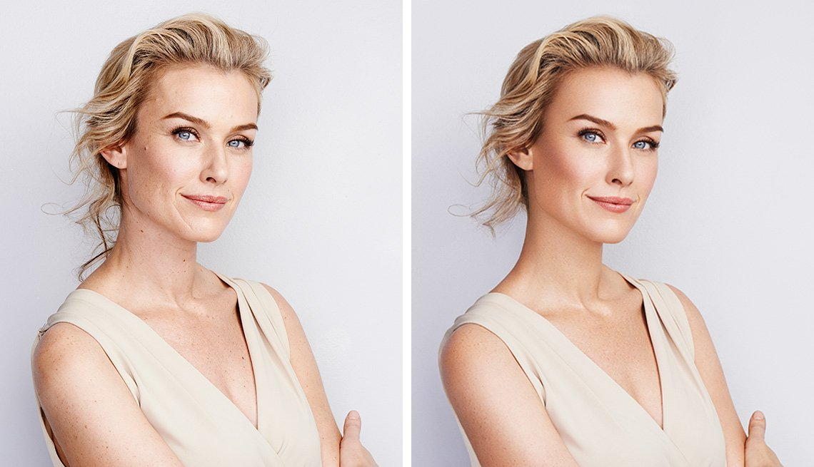 two images of the same woman, untouched up on the left and digitally altered on the right