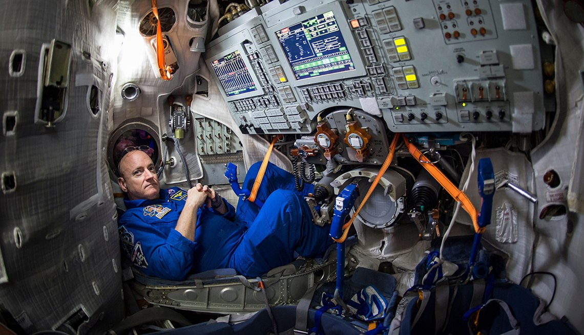 NASA Astronaut Scott Kelly inside a Soyuz simulator