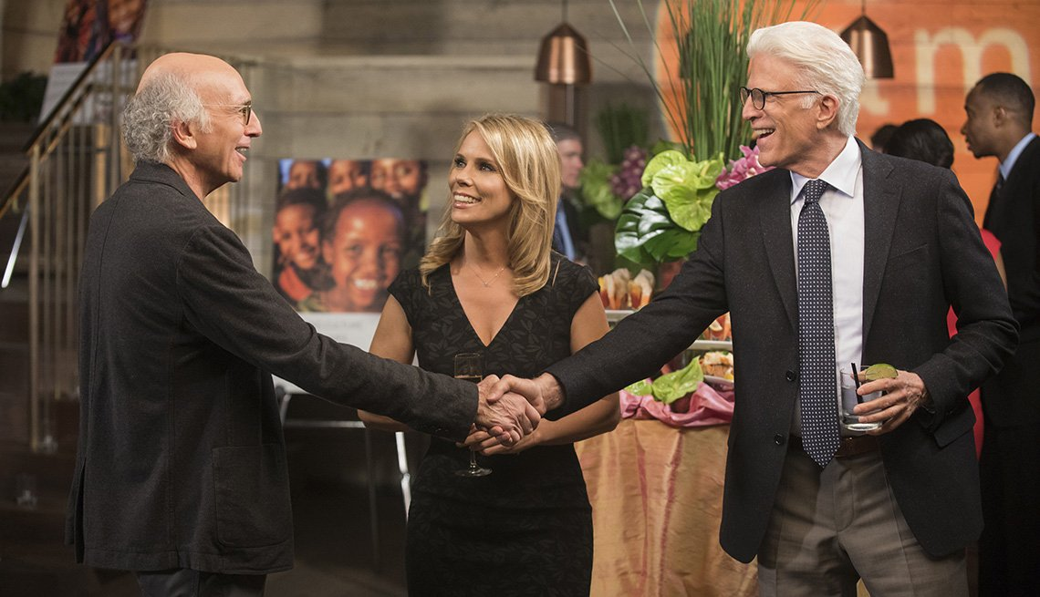 Larry David, Cheryl Hines and Ted Danson on 'Curb Your Enthusiasm'