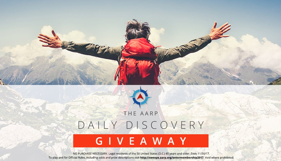 Male Hiker Looking at Mountians, AARP Daily Discovery Giveaway