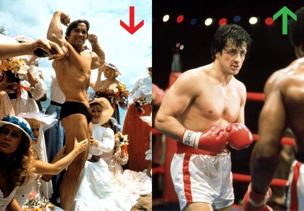Arnold Schwarzenegger in Stay Hungry, 1976. Sylvester Stallone in Rocky, 1976.