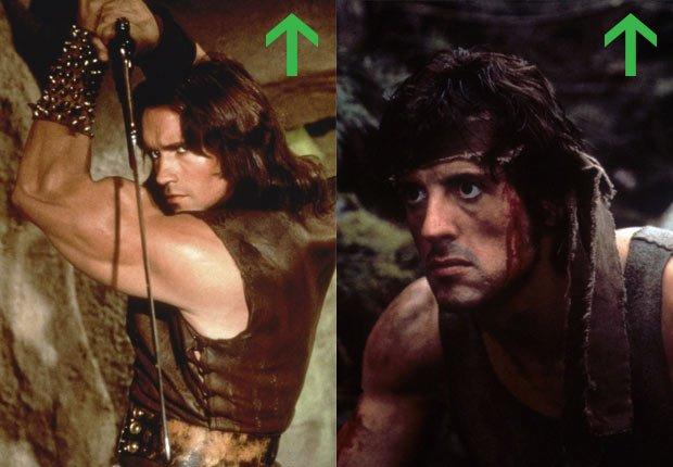 Arnold Schwarzenegger in Conan the Barbarian, 1982; Sylvester Stallone in Rambo, 1982.