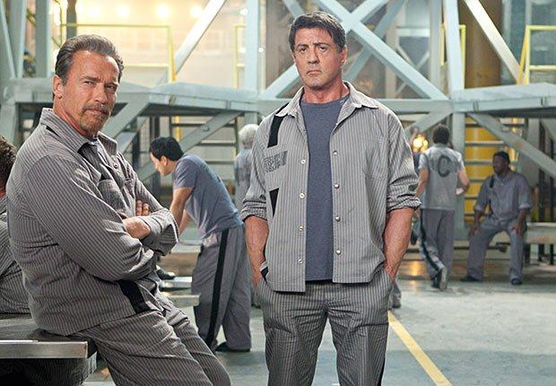 Arnold Schwarzenegger and Sylvester Stallone in Escape Plan, 2013.