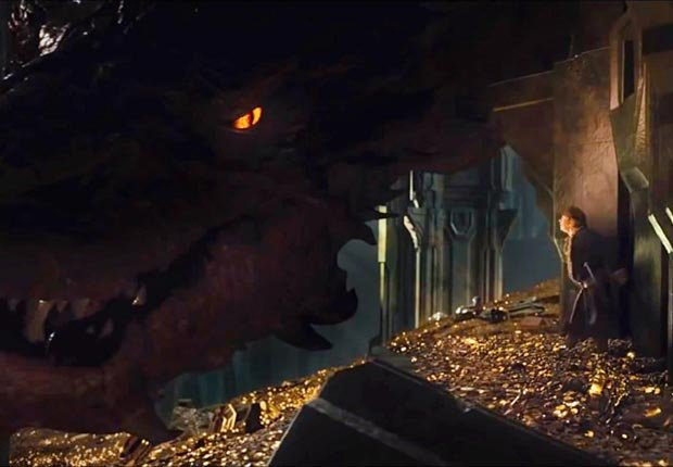 Benedict Cumberbatch as Smaug the dragon in The Hobbit: The Desolation of Smaug. (Courtesy Warner Bros.)