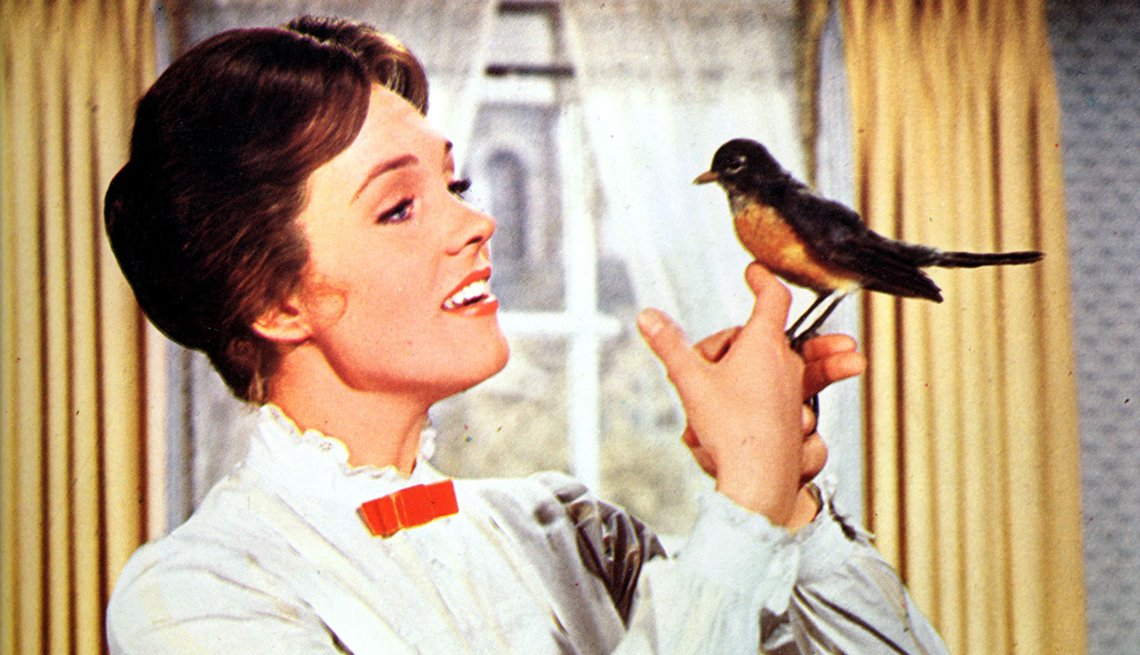 Julie Andrews, Mary Poppins, singing, bird