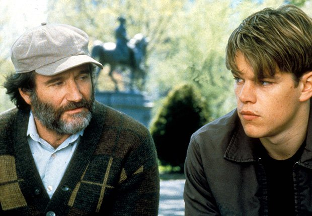 Robin Williams and Matt Damon star in Good Will Hunting, 1997. Robin Williams: 10 Unforgettable Roles.