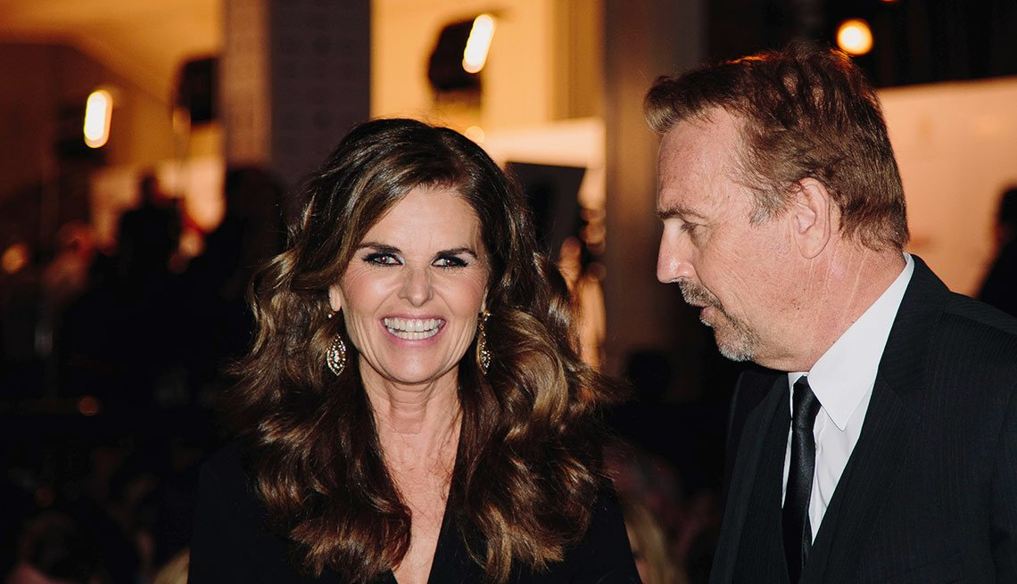 Alzheimer advocate Maria Shriver, with Kevin Costner before AARP's Movies for Grownups 2015 Gala