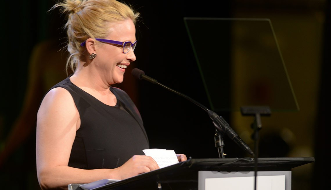 Patricia Arquette is seen presenting an award at AARP the Magazine's