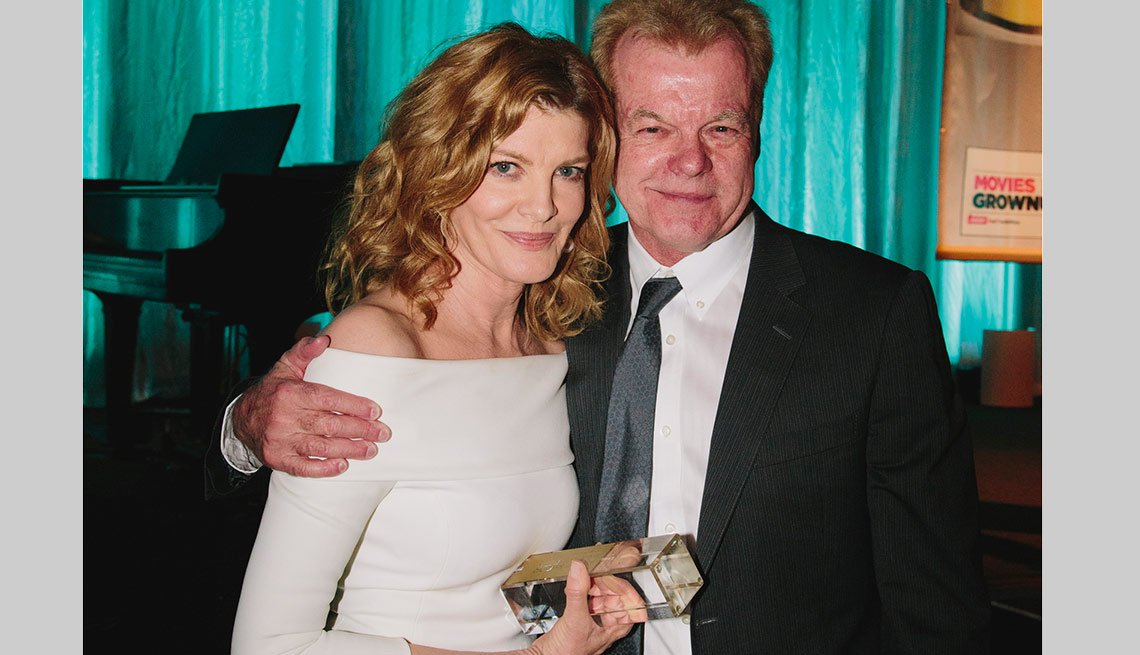 Best Supporting Actress winner for her role in Nightcrawler, Rene Russo with Oscar-winning screenwriter and presenter David Ward