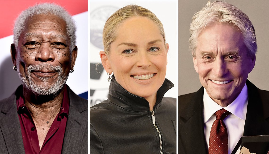 Movies for Grownups Career Achievement Hall of Famers, Morgan Freeman, Sharon Stone and Michael Douglas