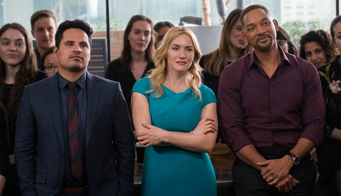 Michael Pena, Kate Winslet and Will Smith in 'Collateral Beauty'