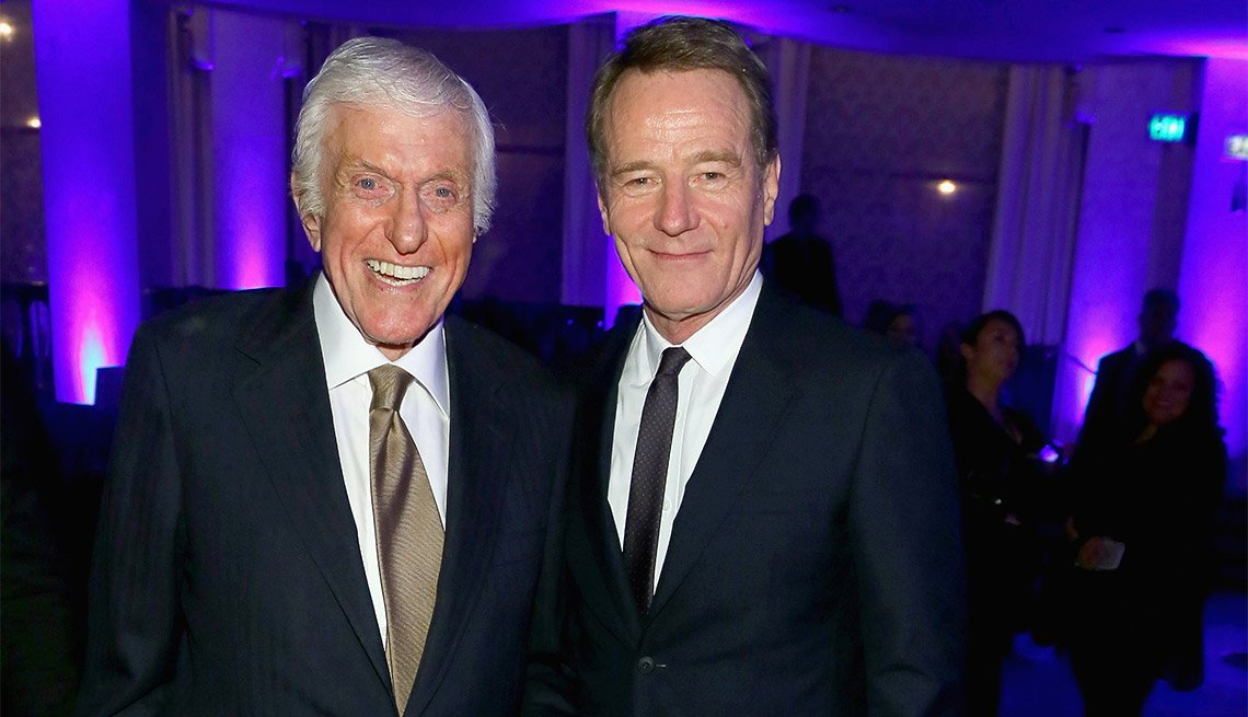 Best Actor Bryan Cranston and presenter Dick Van Dyke at the 15th Annual Movies for Grownups Awards