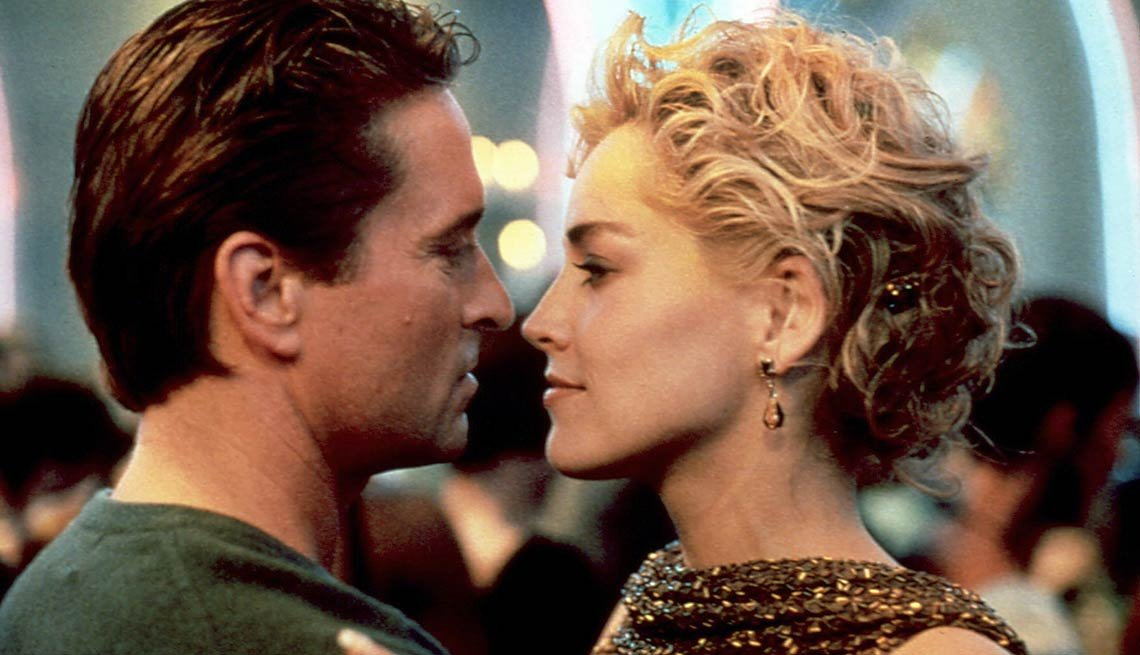 In 1992's Basic Instinct, which made her a star, with costar Michael Douglas.