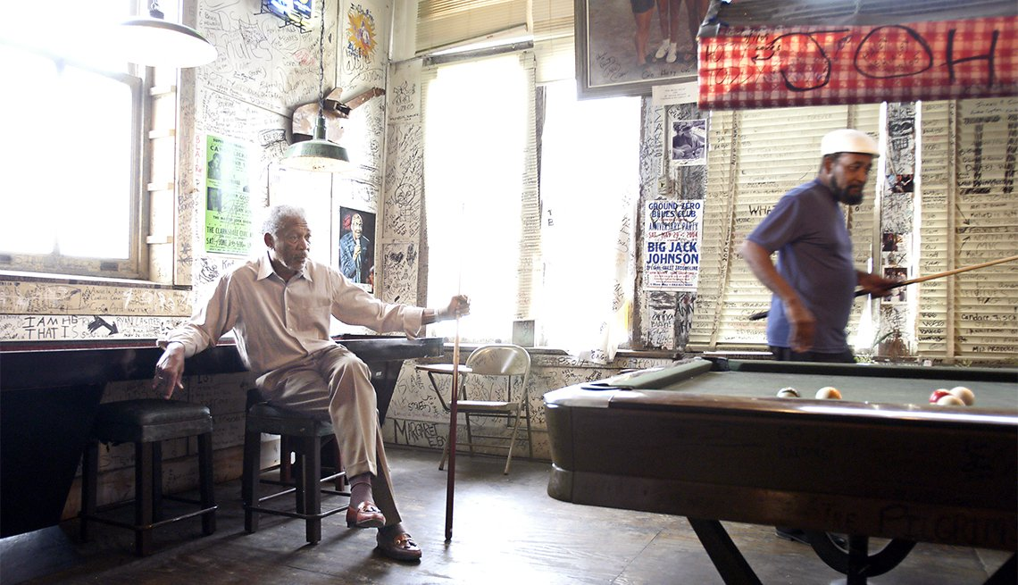Morgan Freeman at Ground Zero in Clarksdale, Miss.